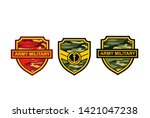 shield of army with camouflage... | Shutterstock .eps vector #1421047238