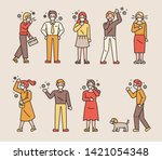 people who wear masks and cough ... | Shutterstock .eps vector #1421054348