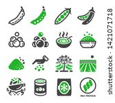 green pea and produce icon set... | Shutterstock .eps vector #1421071718