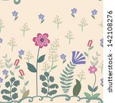pattern with flowers and herbs | Shutterstock .eps vector #142108276