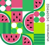 watermelon seamless pattern....   Shutterstock .eps vector #1421093432