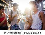 group of young friends having... | Shutterstock . vector #1421115155