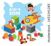 kids zone children entertaiment ... | Shutterstock .eps vector #1421141285