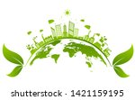 ecology concept and... | Shutterstock .eps vector #1421159195