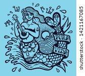 cute siren mermaid exotic girl... | Shutterstock .eps vector #1421167085