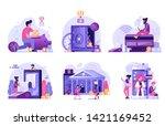 online banking ui flat... | Shutterstock .eps vector #1421169452
