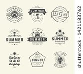 summer holidays labels and... | Shutterstock .eps vector #1421183762