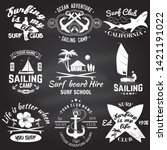 set of sailing camp  yacht club ... | Shutterstock .eps vector #1421191022