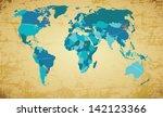 editable vector world map on...   Shutterstock .eps vector #142123366