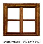 Vintage brown wooden window on white background