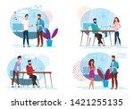 set favorite coffee break... | Shutterstock .eps vector #1421255135