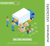 flat delivery truck  we are... | Shutterstock .eps vector #1421262692
