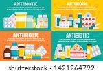 antibiotic banner set. flat... | Shutterstock .eps vector #1421264792
