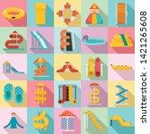 aquapark icons set. flat set of ...   Shutterstock .eps vector #1421265608