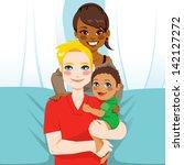 Happy Interracial Family Of...