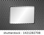 silver metallic plaque on metal ... | Shutterstock .eps vector #1421282708