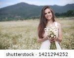beautiful woman with long...   Shutterstock . vector #1421294252
