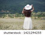 beautiful woman with long...   Shutterstock . vector #1421294255