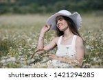 beautiful woman with long...   Shutterstock . vector #1421294285