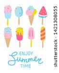 set of cartoon ice cream... | Shutterstock .eps vector #1421308055