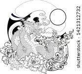 hand drawn dragon tattoo ...   Shutterstock .eps vector #1421312732