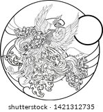 japanese peacock tattoo.asian... | Shutterstock .eps vector #1421312735