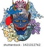 japanese demon's mask tattoo... | Shutterstock .eps vector #1421312762
