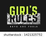 girl's rules slogan sticker... | Shutterstock .eps vector #1421325752