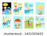 kids fun reading books balloons ... | Shutterstock .eps vector #1421332652