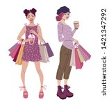 fashion illustration. young... | Shutterstock .eps vector #1421347292