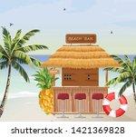 beach bar vector. summer tropic ... | Shutterstock .eps vector #1421369828