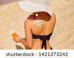 beautiful woman in bikini...   Shutterstock . vector #1421373242