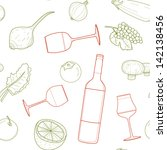 vector seamless food and drinks ... | Shutterstock .eps vector #142138456