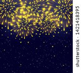 shiny fireworks on starry sky... | Shutterstock .eps vector #1421418395