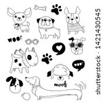 funny dogs  puppies doodles ... | Shutterstock .eps vector #1421430545