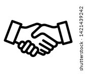 handshake icon. outline... | Shutterstock .eps vector #1421439242