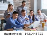 colleagues during business... | Shutterstock . vector #1421445722