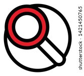 red magnify glass icon. outline ...