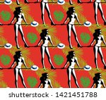 beautiful woman tanning  with... | Shutterstock .eps vector #1421451788