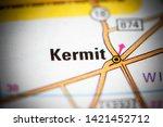 Kermit. Texas. USA on a map