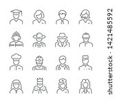 professions related icons  thin ... | Shutterstock .eps vector #1421485592
