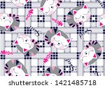 cute cats on plaid background...   Shutterstock .eps vector #1421485718