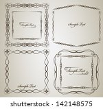 vintage frame vector set with... | Shutterstock .eps vector #142148575