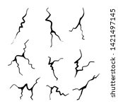 hand drawn cracked glass wall...   Shutterstock .eps vector #1421497145
