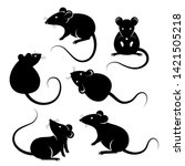 Set Of Rats Black Silhouettes ...