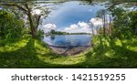 Small photo of full seamless spherical hdri panorama 360 degrees angle view on precipice of wide river in deciduous forest in sunny summer day in equirectangular projection, ready for AR VR virtual reality content