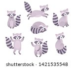 cute raccoons sleeping  sitting ...   Shutterstock .eps vector #1421535548