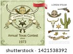 vintage cowboy rodeo colorful... | Shutterstock .eps vector #1421538392