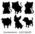 illustration of the silhouettes ... | Shutterstock . vector #142156435