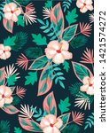 tropical botanical flower... | Shutterstock .eps vector #1421574272